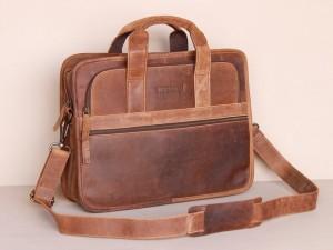 Scaramanga mens Citylander leather laptop briefcase