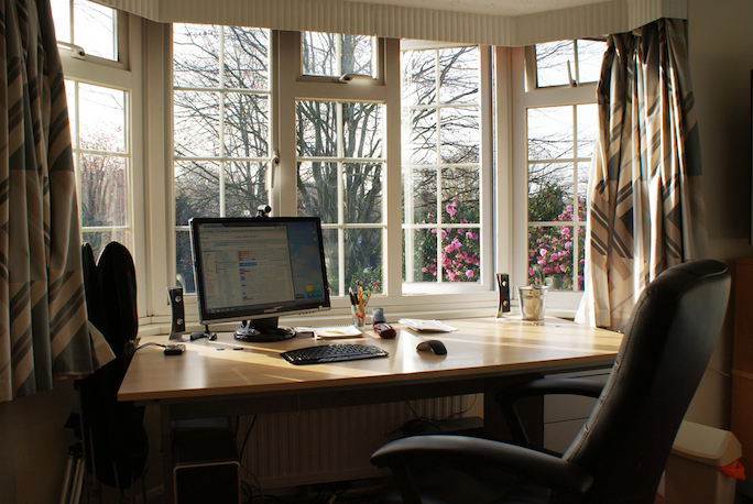 Living room home offices work from home wisdom Study table facing window